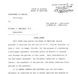 Michael Benjamin Settlement agreement DOH