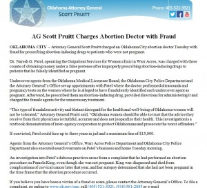 Ok City AG COmplaint Patel Abortion 2014