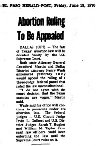 1970 Henry Wade Abortion article 2