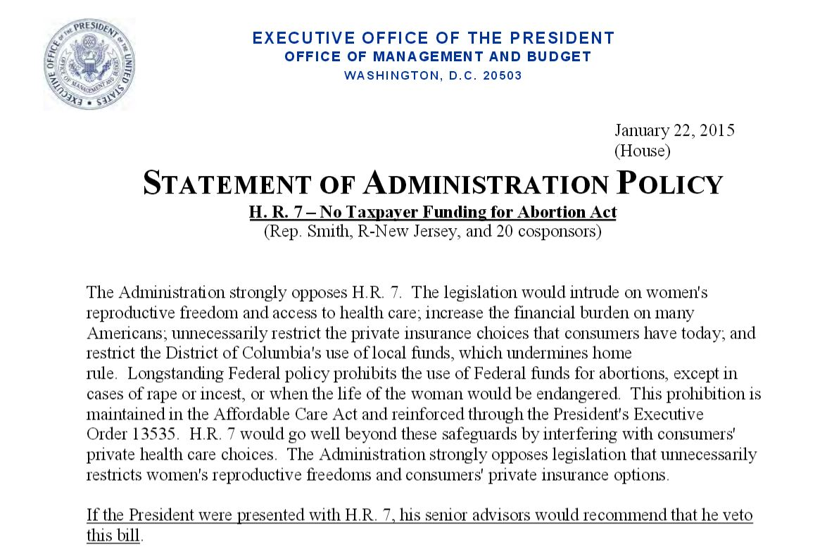 Obama Veto Tax Funding Ab Day of Roe