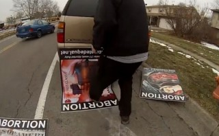 Pro-life abortion victim signs destroyed during High School outreach