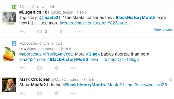 Maafa21 Black History Month Tweets