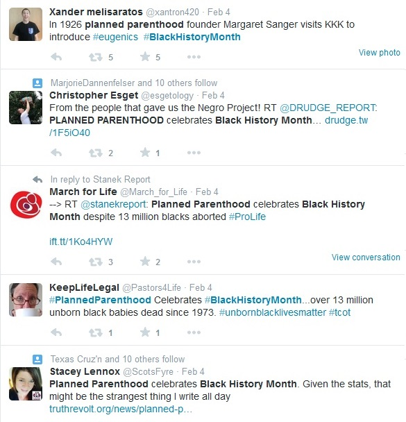 Planned Parenthood and Black History Month tweets 2