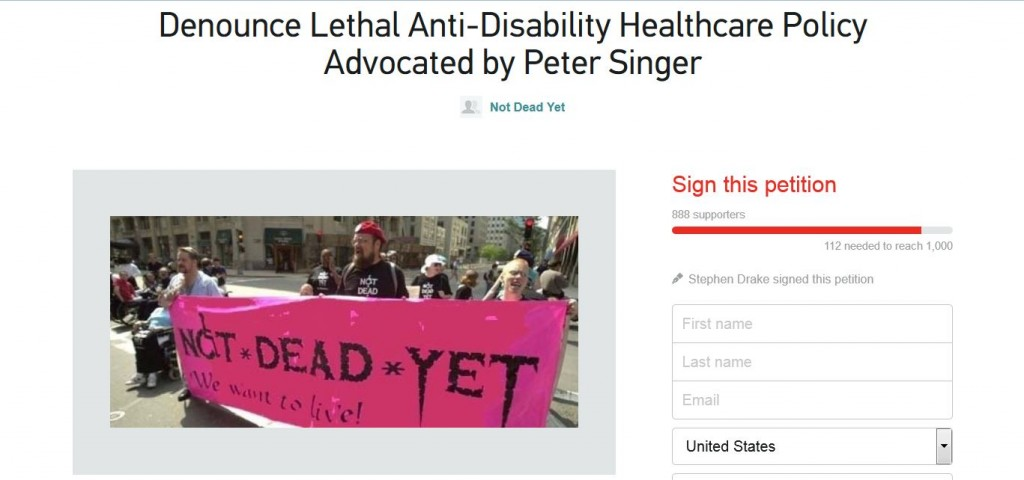 Not Dead yet petition Peter Singer