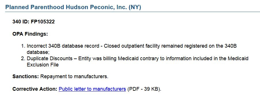 Planned Parenthood Hudson Peconic 340B medicaid audit