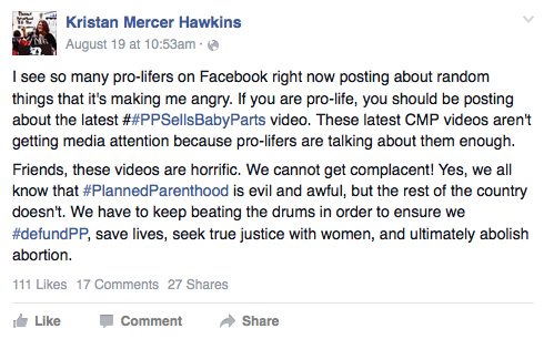 Kristen Hawkins urges pro-lifers to share #PPSellsBabyParts videos  Baby Parts